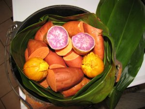 Purple Okinawan Yams, Egg Fruit, 'Regular' Yams, & Ti Leaves.